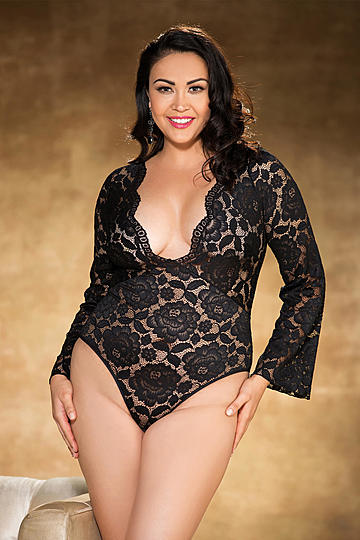 Plus Size Gorgeous Stretch Lace Bodysuit Teddy