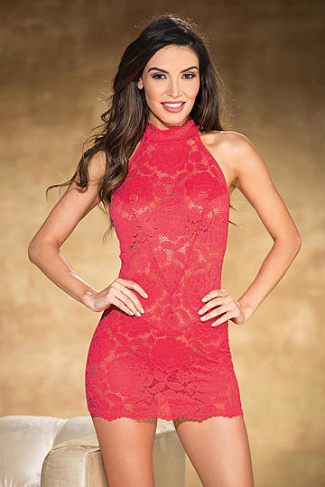 Stretch Lace Halter Neck Chemise