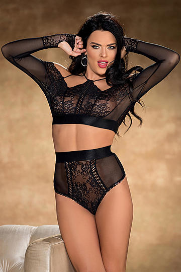 Stretch Lace & Mesh High Waisted Panty