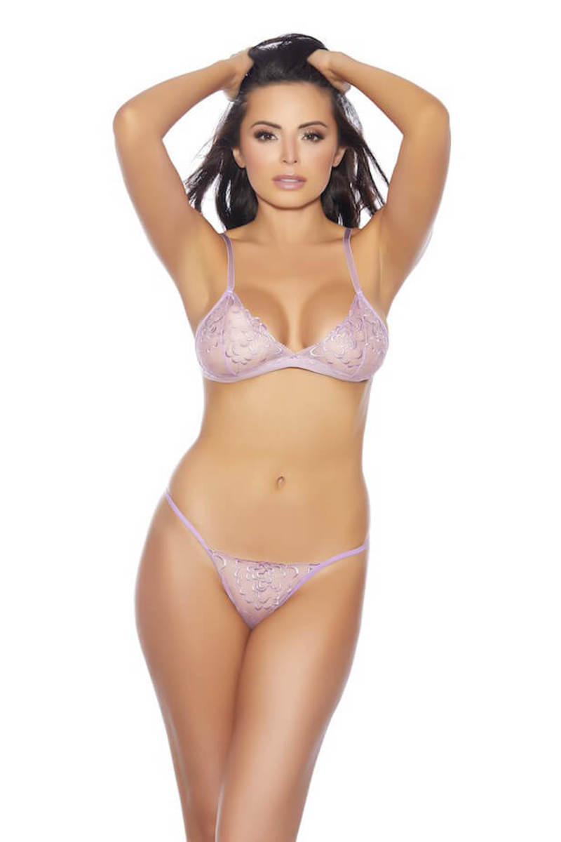 Fleur Embroidered Bralette & G-String Panty Set