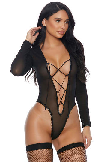 Sheer Criss Cross Long Sleeve Teddy