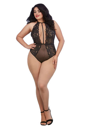 Plus Size Lace & Mesh Collared Teddy