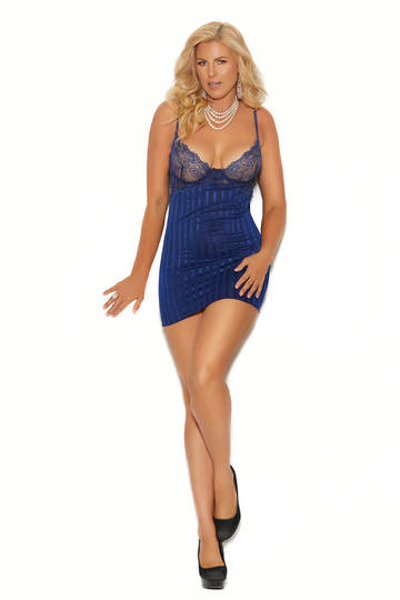 Sleek Striped Satin & Mesh Plus Size Babydoll
