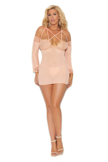 Cold Shoulder Mesh Plus Size Babydoll