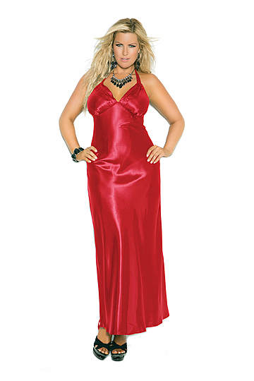 Charmeuse Satin Halter Plus Size Gown