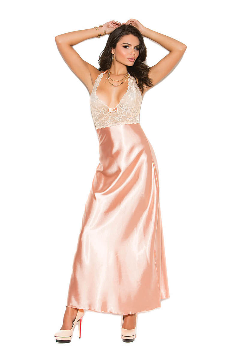 Lace & Charmeuse Halter Neck Gown
