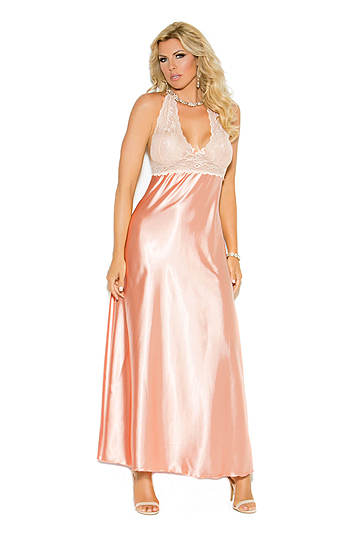 Lace & Charmeuse Halter Neck Plus Size Gown