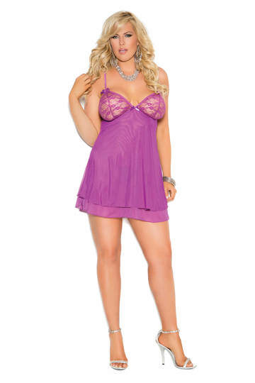 Mesh Double Layered Plus Size Chemise