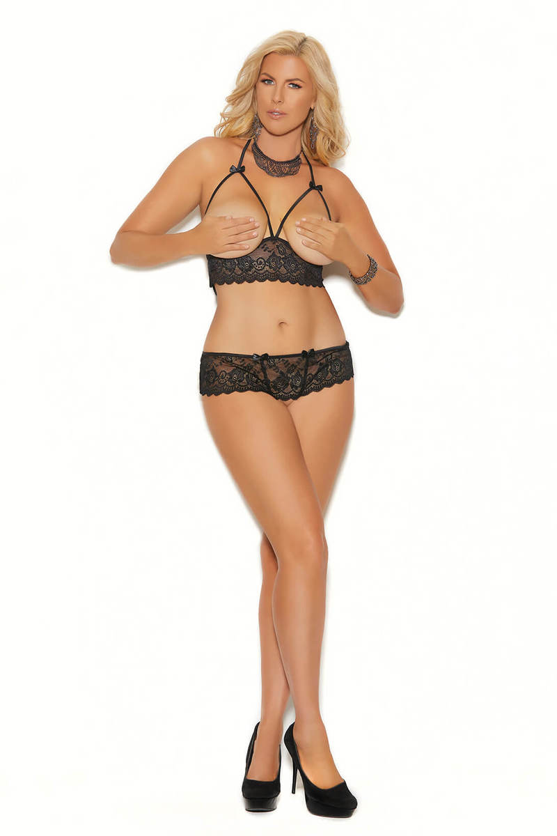 Plus Size Cupless Halter Bra Top & Panty Set