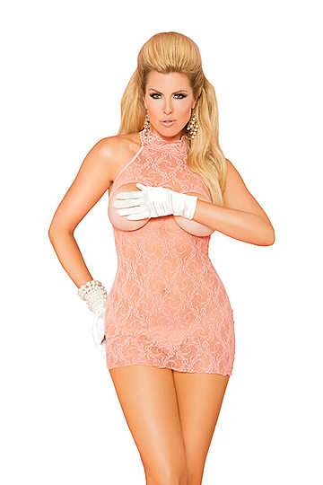 Cupless Halter Lace Plus Size Dress