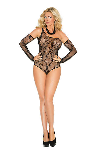 Floral Pattern Fishnet Plus Size Teddy