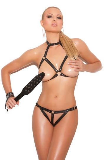 Bare it All Leather Bra & G-String Set
