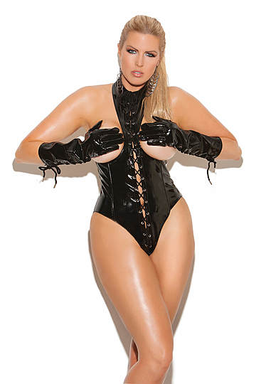 Vinyl Cupless Zipper Front Plus Size Teddy