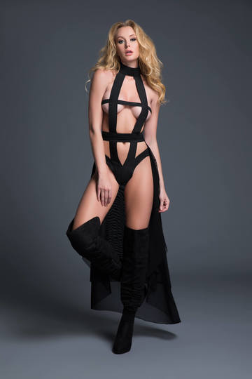 Skye Edgy Teddy & Sheer Skirt Set