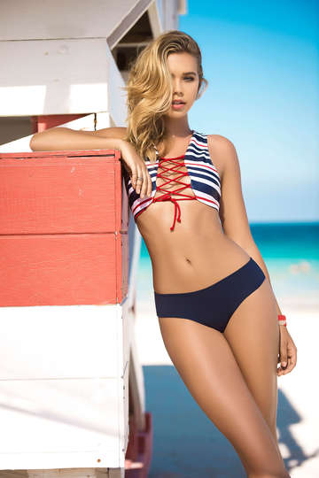 Nautical Striped Bikini Swimsuit