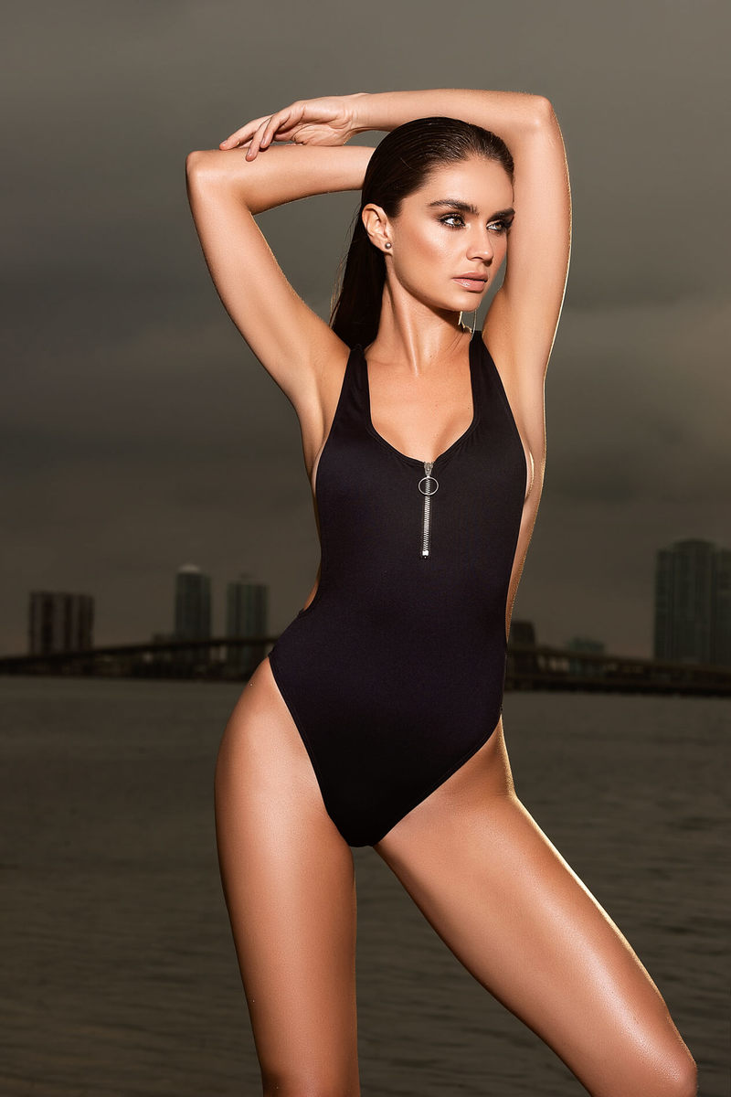Zipper Front One Piece Swimsuit