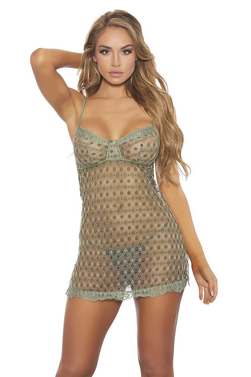 Foxyolive: Olive Lace Chemise Set By Popsi Lingerie