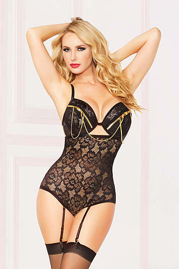 Zip Me Up Floral Lace Teddy