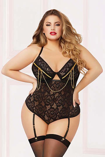 Zip Me Up Plus Size Floral Lace Teddy