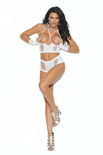Opaque Cupless Cami Top Lingerie Set