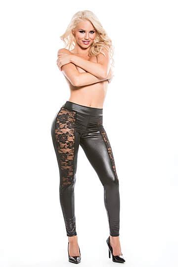 Lace Wet Look Leggings