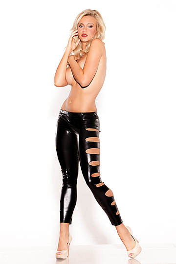 Side Hole Wet Look Leggings