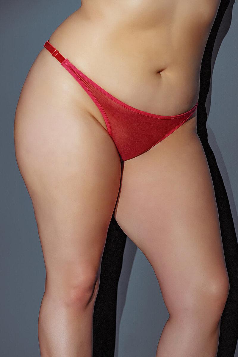 Bow Back Nylon Plus Size Thong
