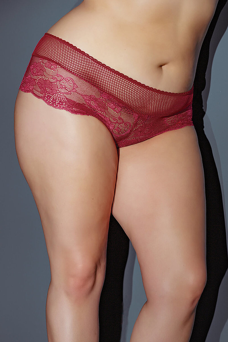 Scalloped Stretch Lace Plus Size Booty Short