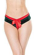 """Crotchless Velvet & Knit """"Present"""" Panty"""
