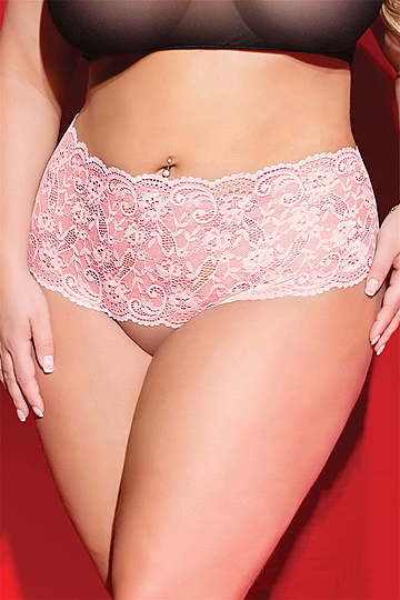 Heart Back High Waist Crotchless Plus Size Panty