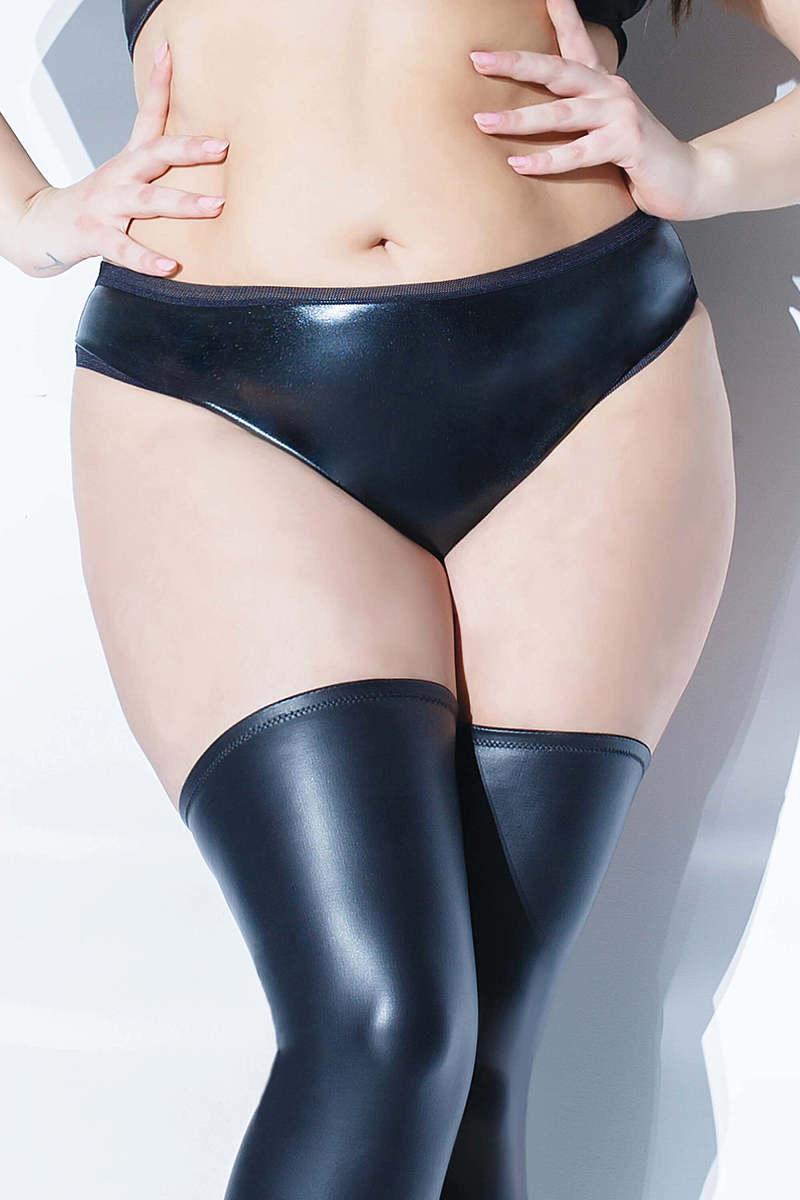 Wet Look Full Back Plus Size Panty