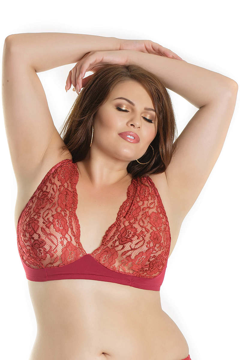 Stretch Lace & Microfiber Plus Size Bra
