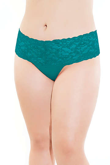 High Waisted Lace Plus Size Thong