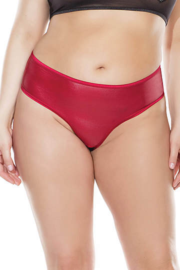 Lace Up Back Crotchless Plus Size Panty