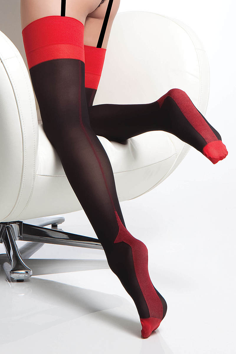 Red Topped Opaque Stockings