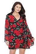 Rose Print Chiffon Plus Size Robe