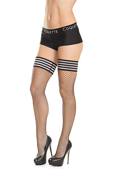 Metallic Top Plus Size Stockings