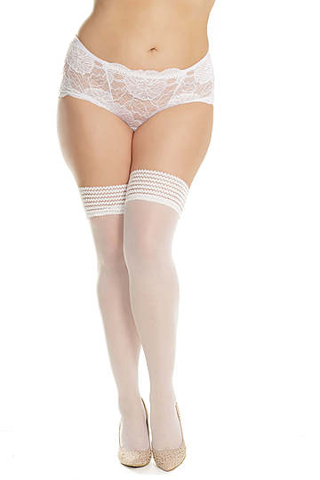 Floral Elastic Top Plus Size Stockings