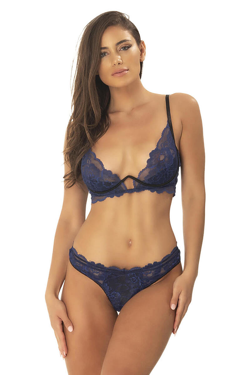 Patience Floral Lace Long Line Bra & Panty Set