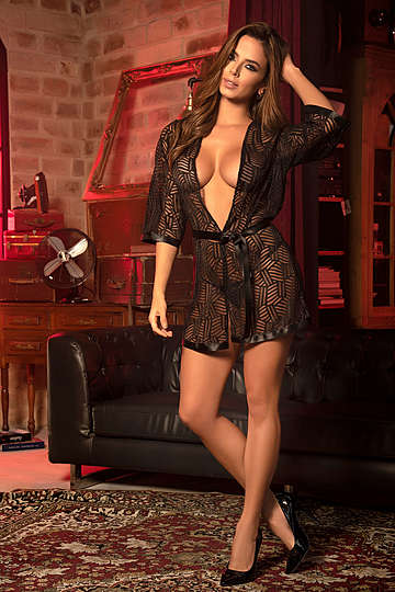 Textured Mesh Robe & G-String Set