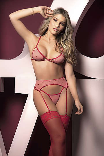 Embroidered Kisses Bra & Panty Set