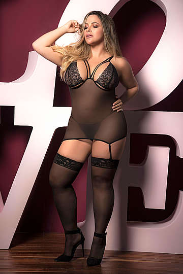 Plus Size Sheer Mesh Babydoll & G-String Set