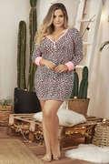 Plus Size Long Sleeve Animal Print Sleep Dress