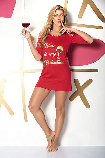 Wine is My Valentine Sleep Shirt