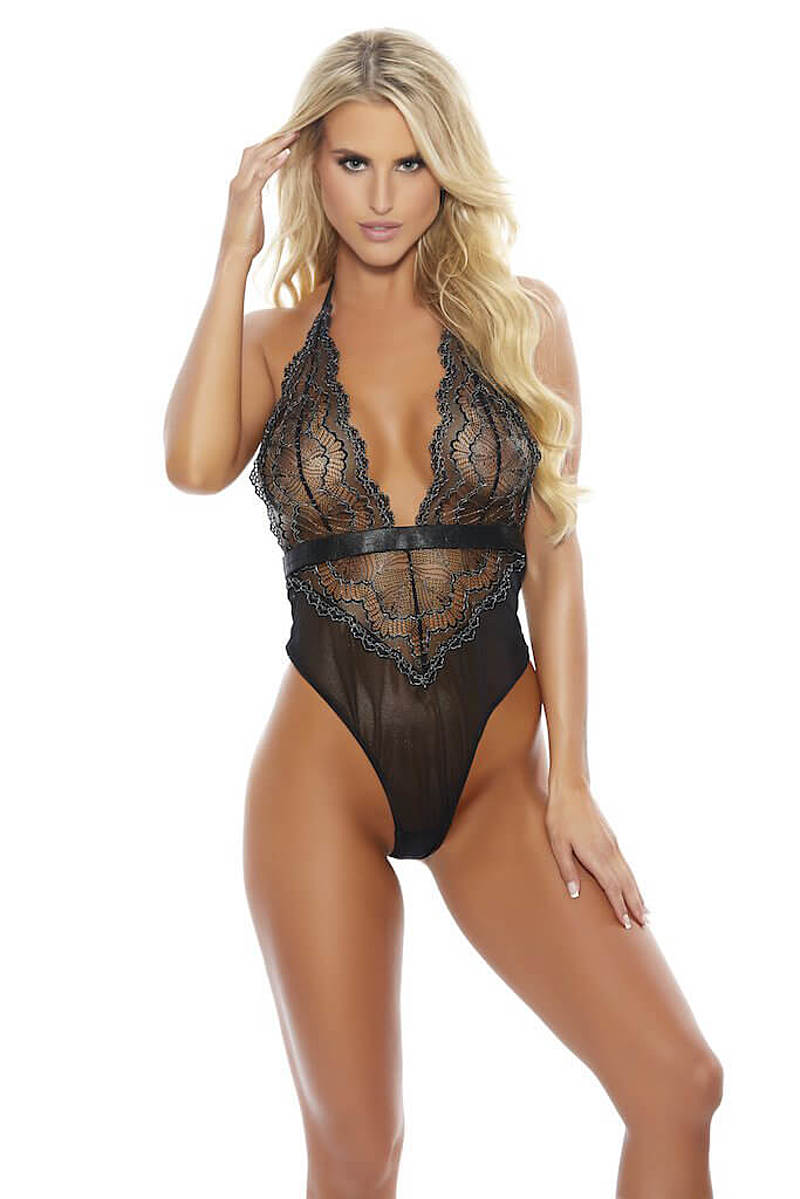 Black Lace Deep V Teddy