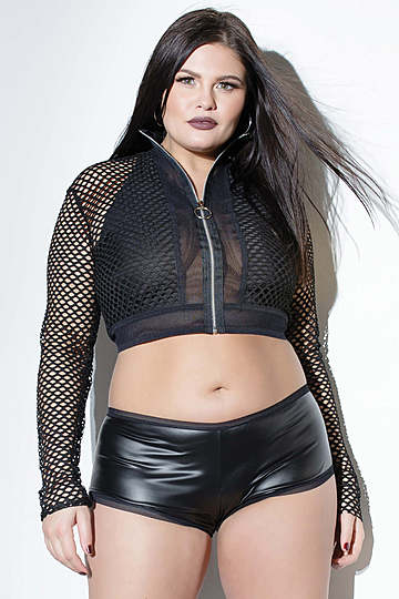 Plus Size Zipper Front Top