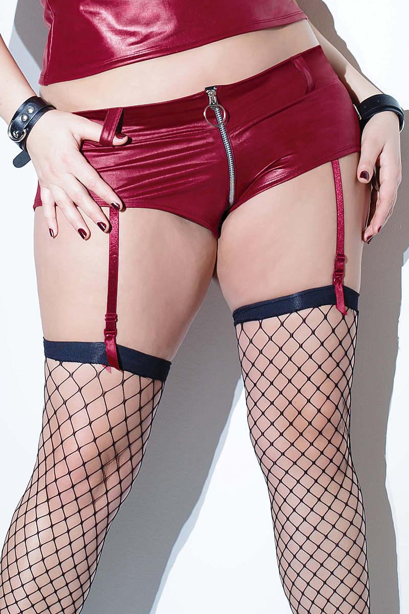 Plus Size Zipper Front Booty Short
