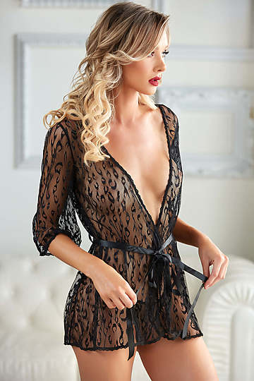 Valentina Leopard Lace Robe & G-String Set