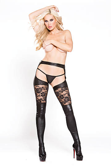 Lace & Wet Look Garter Tights