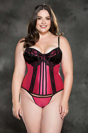 Plus Size Sexy Satin & Lace Corset